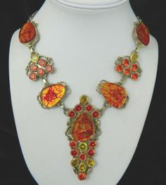 SOLD!!!Sterling Silver Fire Art Glass Faceted by TJsvintagejewelry, $153.00