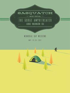 Sasquatch Music Festival Poster + Folded Mailer by Andrew Kapish, via Behance