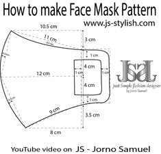 How to make FACE MASK JS teaches you how to make a pattern and sew a fa… - Masque Easy Face Masks, Diy Face Mask, Ying Und Yang Tattoo, Sewing Patterns Free, Free Sewing, Masque Facial Diy, Mouth Mask Design, Diy Mask, Fashion Face Mask