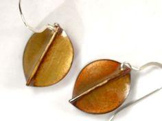 Copper Enamel Earrings Golden Leaves by markasky on Etsy, $45.00