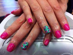 Gelish manicure w/ handpainted roses