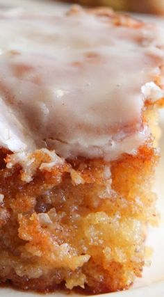 Honeybun Cake ~ A CINNAMON ROLL, but in cake form... Super moist cake, swirled with cinnamon and sugar and a gooey glaze on top.