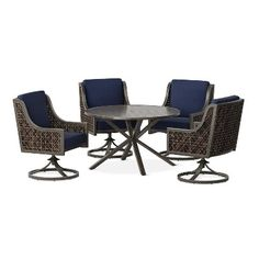 Fabron 5-pc. Wicker Patio Dining Set - Navy (Blue) - Threshold