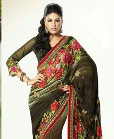 Picture of Charming Brown And Black Designer Saree