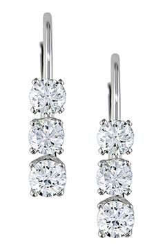 14K White Gold Graduated Diamond Trio Earrings - 0.50 ctw