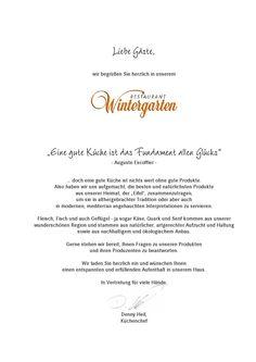 Speisekarte des Restaurant Wintergarten im Dorint Parkhotel Bad Neuenahr