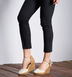 VISCATA Barcelona Satuna Off White * Check this awesome product by going to the link at the image. (This is an affiliate link) Espadrilles, Barcelona, Tommy Hilfiger Women, Ankle Strap, Capri Pants, Wedges, Heels, Classic, How To Wear