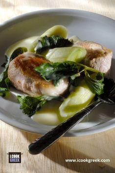 Παραδοσιακή συνταγή για χοιρινό πρασοσέλινο με αυγολέμονο Eggs, Chicken, Meat, Breakfast, Food, Beef, Morning Coffee, Egg, Meals