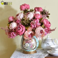 Party Home Wedding Plants European style Silk Flowers Peony Decoration Bouquet Peonies And Hydrangeas, Silk Peonies, Peonies Bouquet, Silk Flowers, Dried Flowers, Hydrangea Bouquet, Bunch Of Flowers, Real Flowers, Peony Arrangement