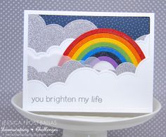 Lawn Fawn - Rainbow die, Puffy Cloud Borders, Life is Good, Stitched Rectangle…