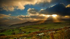 Late sun on New Years Day, Conwy Valley, Wales, UK