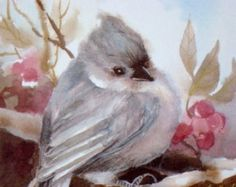 There is a whimsical chickadee in my shop. The cute side of a painting birds in watercolor. This black cap chickadee print is part of my puffy bird series. Collect them all, blue birds and robins. Decorate a childs room with these delightful little fat birds.  My chickadee print is 4x4 artsize. I reproduced this little apricot chickadee from my original watercolor painting. Printed on archival coated paper. UV protected pigments. It comes with a white 8x8 single matte, mounted on a foamcore…