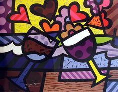 Easy Canvas Painting, Dot Painting, Arte Pop, Pop Art Drawing, Art Drawings, Britto Disney, Bohemian Painting, Tableau Pop Art, Wine Art