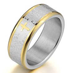 amazing Mens Stainless Steel Ring Band Silver Gold Bible Lords Prayer Cross Vintage Wedding Size13 See it here! https://steampunkvapemod.com/product/mens-stainless-steel-ring-band-silver-gold-bible-lords-prayer-cross-vintage-wedding-size13/