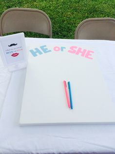 Guest sign canvas if they are for #teampink or #teamblue. Paint to splatter in the middle of the canvas. Gender Reveal Party idea
