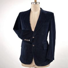 SOLD-Men's Velvet Vintage Sportcoat Jacket Navy Blue by prettyinprague, $75.00