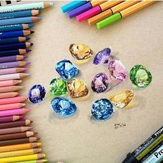I look for pens to create happiness for others Beautiful diamond work by Elcy faddoul art, diamond, and drawing image Gemstone Art by Elay Foddout Diamonds- Pencil ArtI am stunned Colored Pencil Artwork, Coloured Pencils, Color Pencil Art, Jewellery Sketches, Jewelry Drawing, Jewelry Art, Tech Art, Jewelry Illustration, Beautiful Drawings