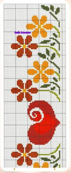 Anaide Ponto Cruz: For round table these graphics in cross stitch, beautiful ! 123 Cross Stitch, Cross Stitch Bookmarks, Cross Stitch Heart, Cross Stitch Borders, Cross Stitch Flowers, Cross Stitch Designs, Cross Stitching, Cross Stitch Embroidery, Hand Embroidery