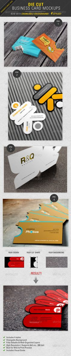 Die Cut Business Card Mockup   #GraphicRiver        For this first time you can present your die cut business card concepts with a realistic Photoshop mockup. Unlike any other mockups you can also change the background. It comes with  4 amazing styles and perspectives. Check out Samples   See this item in action: