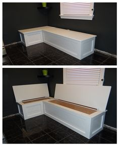 Kitchen banquette with storage.
