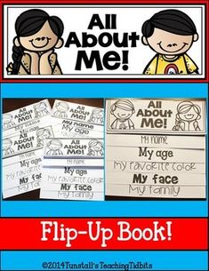 This flip up book makes a for a fun and unique way to get your students sharing about themselves while writing!    Each flap has a tab with a writing and/or picture prompt.    The flip up books make a great display for back to school night, a beginning of the year bulletin board or to keep tucked away in a writing portfolio to measure growth!