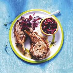 Grilled Gloucester Old Spot pork chops with fresh cherry salsa, a ...