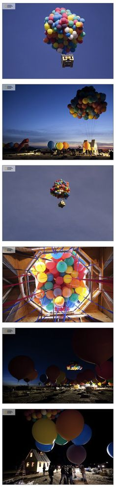 A team of scientists, engineers and balloon pilots re-created the iconic house from Pixar's UP. Setting a new world record for the largest balloon cluster, the house flew for more than an hour!