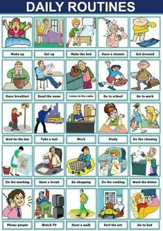 Useful English Phrases to Describe Your Daily Routines – ESL Buzz English Verbs, Kids English, English Phrases, English Study, Learn English, English Posters, Games In English, Learn Spanish, Frases