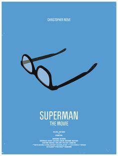 Superman Minimalist Movie Poster by Moxy Creative House Best Movie Posters, Classic Movie Posters, Minimal Movie Posters, Minimal Poster, Cinema Posters, Movie Poster Art, Fan Poster, Classic Films, Poster Superman