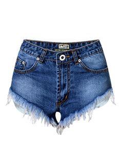 High Waist Wash Fringe Denim Shorts_Denim Shorts Jeans_Women ...