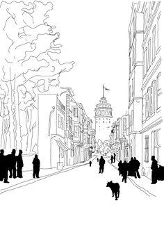 Istanbul Galata Tower Street Sketch