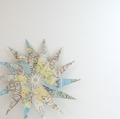 Large Map Paper Star - Origami & String Art Ornament - Home Decor - Atlas Sculpture. $24.00, via Etsy.