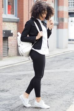 Triple Denim Black denim Jacket – Dizen | Cropped Denim Jacket – Similar Here | Boyfriend Shirt – Gap (old), Similar Here | Skinny Jeans – Topshop | Backpack – Zara (old),Similar Here | Trainers – Converse Fashion Look by Samio Renelda