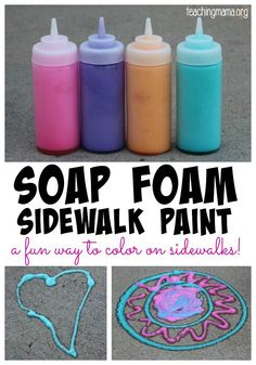 Soap Foam Sidewalk Paint- just blend paint, dish soap and water in a blender and fill bottles with foam!