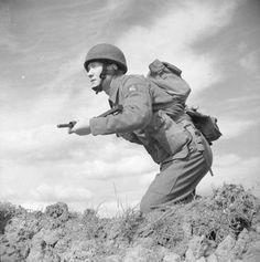 British Paratrooper with MK II Sten gun, circa 1942