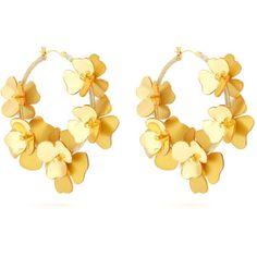 Oscar De La Renta Flower Garden hoop earrings ($665) ❤ liked on Polyvore featuring oscar de la renta
