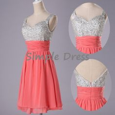 New Arrival A-line Straps Sleeveless Knee-length Chiffon Sequins Short Prom/Evening/Party/Homecoming/Bridesmaid/Cocktail/Formal Dress 2014