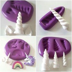Unicorn Silicone Moulds Horn Ears Rainbow Sugarpaste Fondant Cake Decorate Uk