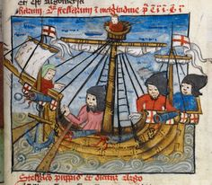 """The english ship """"Christopher of the Tower"""" from 1406 - this was thought to be the first ship designed to carry cannon on the starboard and port sides of a ship. Most cannon in the high middle ages were on the bow or stern of the ship Medieval Life, Medieval Art, Medieval Fashion, Medieval Manuscript, Illuminated Manuscript, Renaissance, St George's Cross, George Cross, High Middle Ages"""