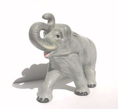 Vintage Elephant  Large Gray Elephant Ceramic by Donellensvintage