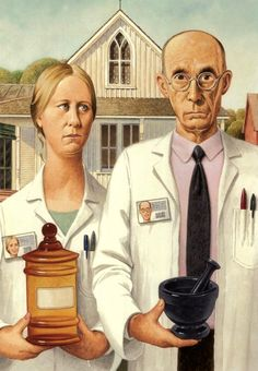 PHARMACY Fabric Panel in Grant Wood Art. ONE large x Fabric Panel. Actual picture is approx x White background. Use for quilting Grant Wood American Gothic, American Gothic Parody, American Art, Nurses Week Quotes, Nursing Quotes, Nursing Memes, Pharmacy Humor, Pharmacy School, Pharmacy Technician