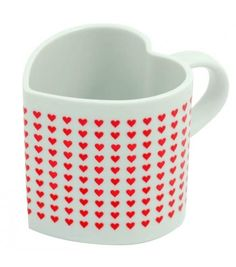 "Heat Changing Heart Shaped Love Mug - Heat Sensitive - When Warm Reveals ""I Heart You"" Message"