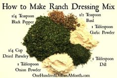 Easy Kitchen Tips - Ranch Dressing and Dip Recipe Ingredients cup dried parsley 1 tablespoon dried dill 1 tablespoon garlic powder 1 tablespoon onion powder teaspoon dried bas. Homemade Spices, Homemade Seasonings, Homemade Dog, Spice Blends, Spice Mixes, Spice Rub, How To Make Ranch, Dip Recipes, Cooking Recipes