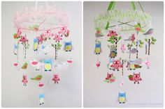 Owl Bird Tree Paper Baby Mobile  Inspired by by whimsicalaccents, $95.00. WOW -- love the trees especially!