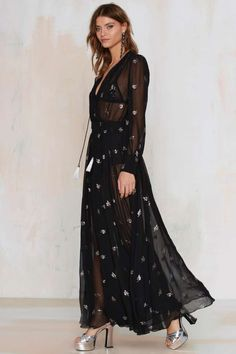 Sheer Luck Black Maxi Dress