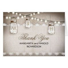 Burlap lace and mason jars thank you cards