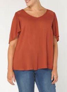 6b5744b75f1e Evans Rust Lace Up Back Top Size UK 32 Box46 29 L  fashion  clothing