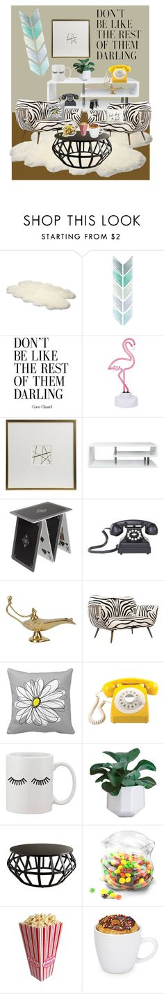 """""""Little living room"""" by ioroa ❤ liked on Polyvore featuring interior, interiors, interior design, home, home decor, interior decorating, UGG Australia, Sunnylife, WALL and Furniture of America"""
