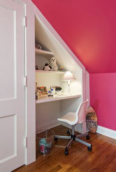Take away the pink but I think the desk and shelves above would fit nicely.  Maybe a live edge desk? I can get the wood -- and I bet Chris Parks would install.