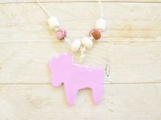Necklace reindeer holiday christmas winter pendant by poppyshome
